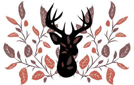 Abstract composition of silhouette of a deer surrounded by twigs with leaves