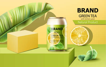 Composition of a can of iced green tea on podium surrounded by mint, lemon slice and tropical leaf. With place for text. Realistic
