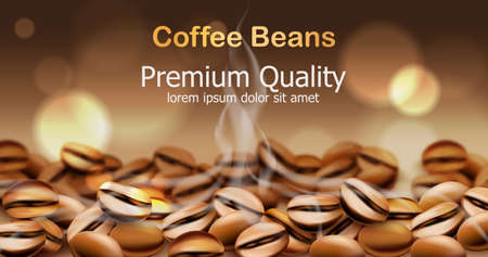 Premium quality coffee beans with smoke from them. Sparkling circles in background. Place for text 일러스트