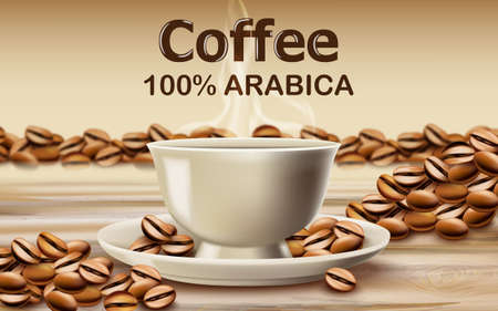 Cup of arabica coffee on a wooden desk surrounded by roasted coffee beans Standard-Bild - 155515261
