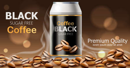 Can of premium quality sugar free black coffee. Place for text Standard-Bild - 155515262