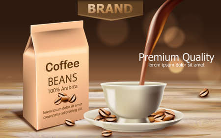 Bag with premium quality arabica coffee beans with a cup near with liquid pouring from top. Place for text