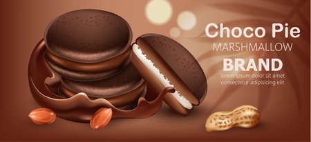 Three stacked choco pies with marshmallow surrounded by flowing chocolate and peanuts. Realistic. 3D mockup product placement. Place for text
