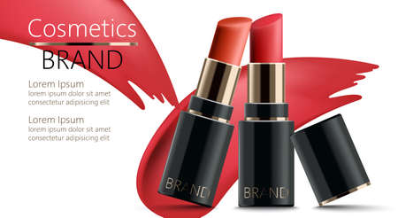 Two lipsticks leaning on each other. Realistic. 3D mockup product placement. Place for text Standard-Bild - 155515272