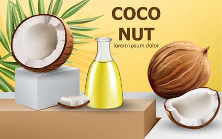 Whole and cracked open coconuts with monstera leaf and a carafe with oil on podium. Realistic. 3D mockup product placement. Place for text