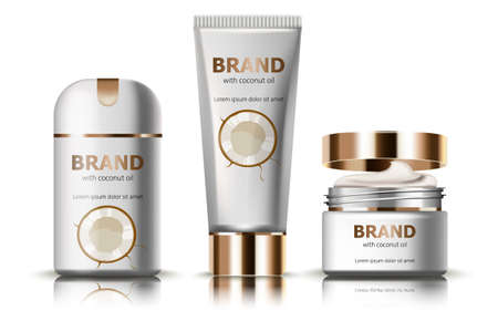 Set of deodorant and creams with coconut oil. Realistic. 3D mockup product placement. Place for text