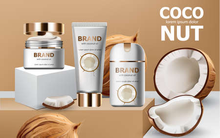 Deodorant and creams on podiums surrounded by whole and cracked open coconuts. Realistic. 3D mockup product placement. Place for text Illustration