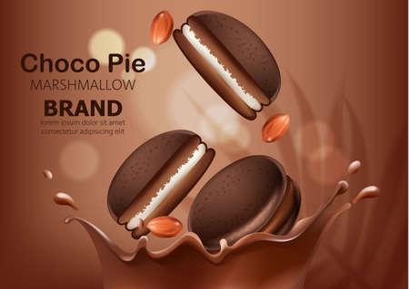 Whole and halves of marshmallow choco pies and peanuts falling in melted chocolate. Realistic. 3D mockup product placement. Place for text