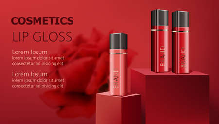 Three lip gloss containers on podiums. Realistic. 3D mockup product placement. Place for text Illustration