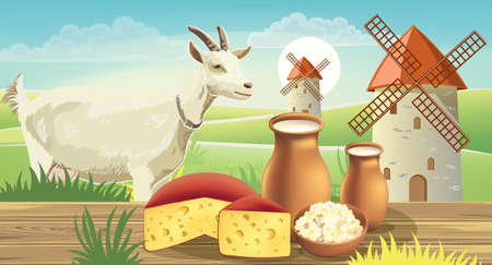 Goat on meadow with wind mills, near a table with cheese , cottage cheese and milk on top. Realistic. 3D mockup product placement Illustration