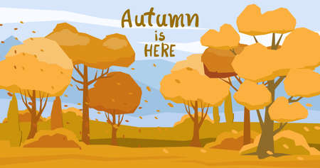 Autumnal forest with fallen orange leaves carried by the wind Illustration