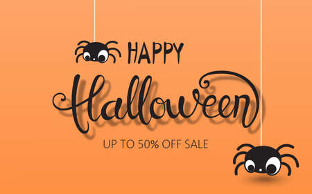 Happy halloween composition with two spiders hanging down. Up to 50 off sale