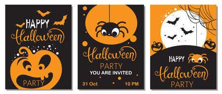 Set of halloween cards with carved pumpkins, spiders and bats. Party invitation Illustration