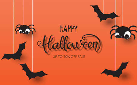 Happy halloween composition with spiders and bats hanging down. Up to 50 off sale Illustration