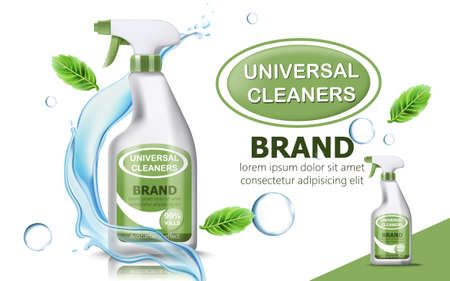 Bottle of universal cleaner surrounded by bubbles, mint leaves, and flowing water. Place for text. realistic 3D product placement