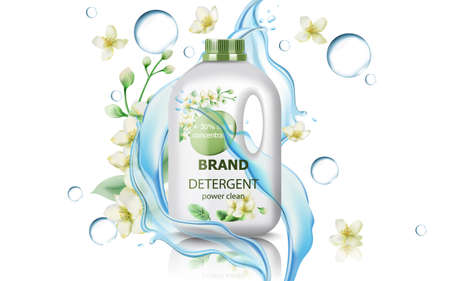 Jerrycan with detergent surrounded by flowers, bubbles and flowing water. Concentrated clean power. Realistic 3D mockup product placement Illustration