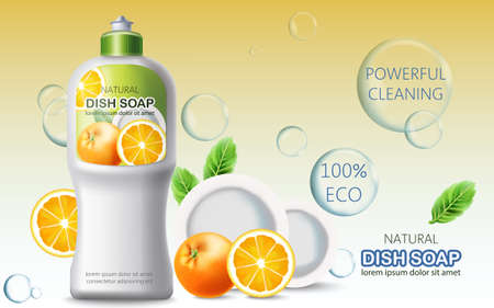 Bottle of dish soap surrounded by bubbles, oranges and plates. Ecological powerful cleaning. Place for text. Realistic 3D mockup product placement