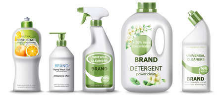 Set of dish soap, hand wash gel, universal cleaner and detergent. Place for text. Realistic 3D mockup product placement