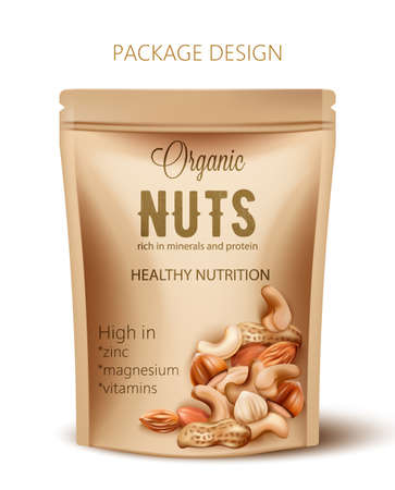 Package with organic nuts. Rich in minerals and protein. Healthy nutrition, high in zinc, magnesium and vitamins. Realistic 3D mockup product placement
