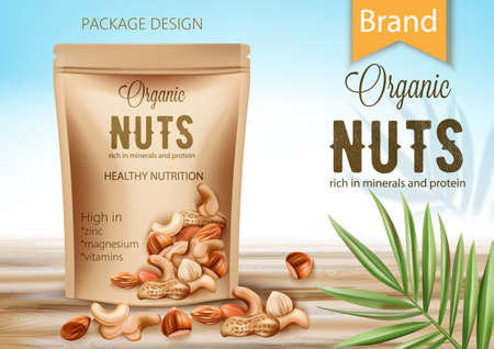 Package with organic product surrounded by palm leaf and nuts. Rich in minerals and protein. Healthy nutrition, high in zinc, magnesium and vitamins. Realistic 3D mockup product placement