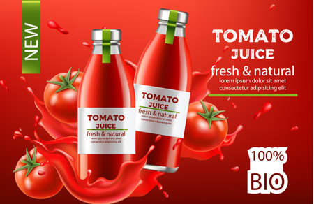 Composition, two bottles with fresh and natural bio juice submerged in flowing liquid and tomatoes. Place for text. Realistic 3D mockup product placement