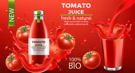 Bottle of fresh and natural bio juice submerged in flowing liquid and tomatoes with a cup splashing fluid. Place for text. Realistic 3D mockup product placement Illustration