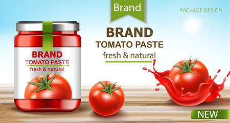 Jar with fresh and natural paste with tomatoes and flowing juice near by. Realistic 3D mockup product placement