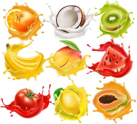 Set of tropical fruits and vegetables splashing in juice, orange, coconut, kiwi, banana, mango, watermelon, tomato, lemon, and papaya. Realistic 3D mockup product placement