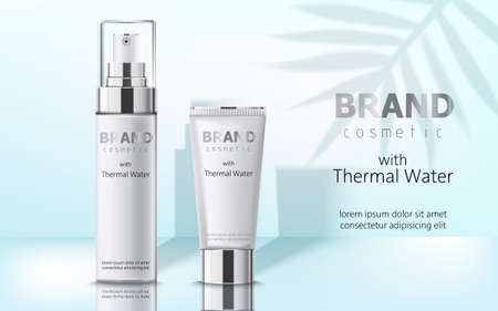 Composition of two containers with cosmetics, thermal water. Place for text. Realistic 3D mockup product placement Illustration