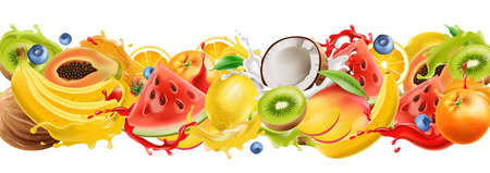 Composition of tropical fruits splashing in flowing juice, watermelon, orange, coconut, kiwi, mango, banana, blueberries. Realistic 3D mockup product placement Illustration