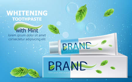 Tube of whitening toothpaste with mint on top of a carton box surrounded by bubbles, sparkles and leaves. Place for text. Realistic 3D mockup product placement Illustration