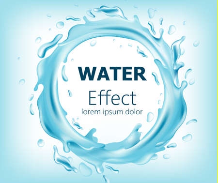 Abstract circle of flowing water. Place for text. Realistic 3D mockup product placement