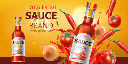 Two bottles with hot and fresh chili sauce, submerged in liquid, tomatoes, chili and onions. Place for text. Realistic 3D mockup product placement Illustration