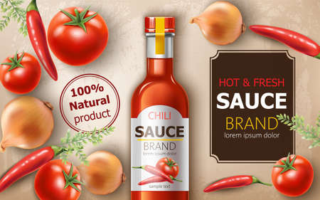 Bottle of fresh and hot natural chili sauce surrounded by tomatoes, onions and chili peppers. Place for text. Realistic 3D mockup product placement
