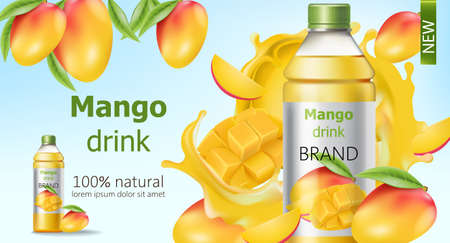 Bottle of natural mango drink surrounded by sliced and whole fruits and flowing juice. Place for text. Realistic 3D mockup product placement Illustration