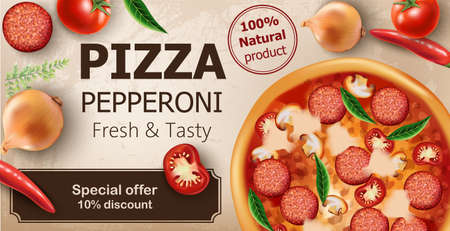 Fresh and tasty pepperoni pizza with tomatoes, chilli peppers, onions, basil and salami surrounding. Special offer 10 discount. Realistic 3D mockup product placement