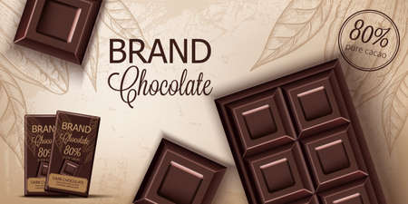 Chocolate bar and packaging on retro background. Place for text. Realistic 3D mockup product placement