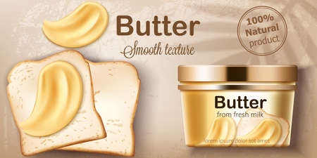 Container with natural butter from fresh milk. Spreading on toasted bread. Natural smooth texture. Place for text. Realistic 3D mockup product placement