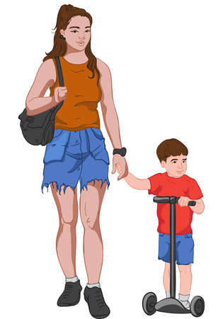 Young mother in jeans skirt and brown t-shirt holding hands with her son dressed in red and blue clothes while he is riding kick scooter