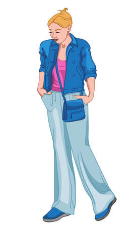 Sad woman dressed in blue and pink clothes holding her hand in the pockets