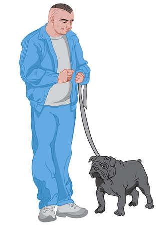 Joyful man dressed in blue walking out his black dog