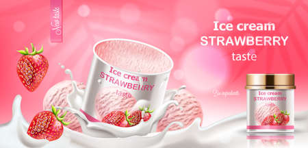 Strawberry ice cream jar submerged in milk with dropping berries and balls. Bio ingredients. Realistic 3D mockup product placement Illustration