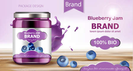 Jar filled with BIO jam surrounded by blueberries and flowing liquid. Place for text. Realistic 3D mockup product placement