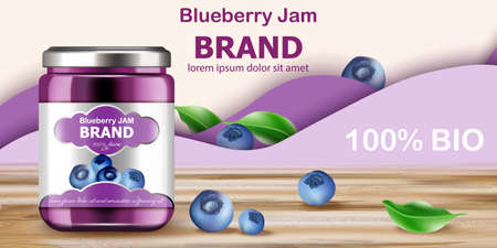 Jar filled with BIO jam surrounded by blueberries and purple waves in background. Place for text. Realistic 3D mockup product placement Illustration