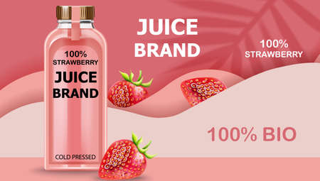 Bottle of cold pressed BIO juice with strawberries and pink waves in background. Realistic 3D mockup product placement Illustration
