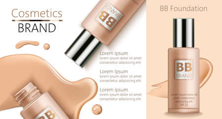 Composition of bottles with BB foundation. Spilled liquid on white background. Place for text. Realistic 3D mockup product placement