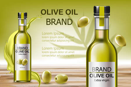 Two bottles with extra virgin oil. Surrounded by flowing liquid and olives. Place for text. Realistic 3D mockup product placement