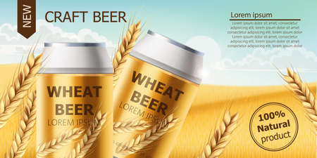 Two cans with craft beer in a field full of wheat grains. Blue cloudy sky. Realistic 3D mockup product placement. Place for text