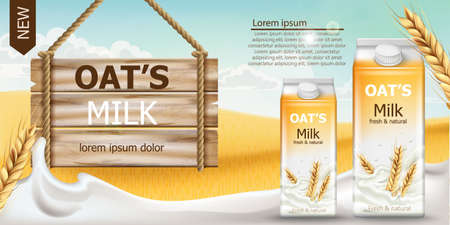 Two carton boxes with fresh and natural oat milk in a field full of grains. Blue cloudy sky. Wooden sign. Realistic 3D mockup product placement. Place for text