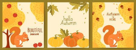 Set of three autumnal cards. Yellow trees, red apples, squirrels, pumpkins, maple leaves, acorns. Hello beautiful season. Realistic 3D mockup product placement Illustration
